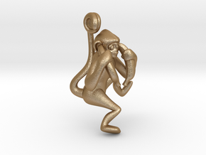 3D-Monkeys 004 in Matte Gold Steel