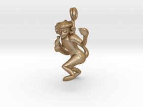 3D-Monkeys 008 in Matte Gold Steel