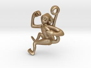 3D-Monkeys 010 in Matte Gold Steel