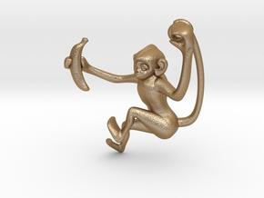 3D-Monkeys 011 in Matte Gold Steel