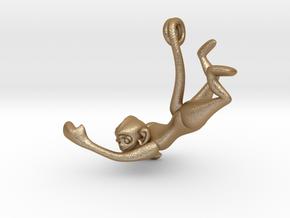 3D-Monkeys 018 in Matte Gold Steel