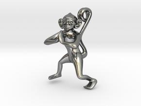 3D-Monkeys 024 in Fine Detail Polished Silver