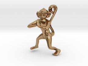 3D-Monkeys 024 in Polished Brass