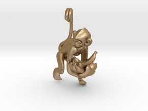 3D-Monkeys 033 in Matte Gold Steel
