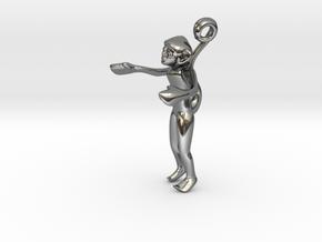 3D-Monkeys 059 in Fine Detail Polished Silver
