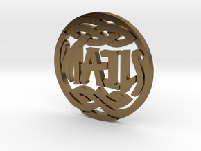 Heads and Tails Ambigram Coin in Polished Bronze