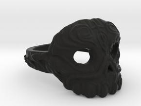 Dr.K Skull Ring Size 11 in Black Natural Versatile Plastic