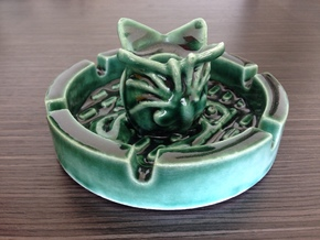 Alien Porcelain Ashtray/Candleholder in Gloss Oribe Green Porcelain