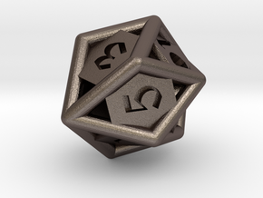 d10 gyro in Polished Bronzed Silver Steel