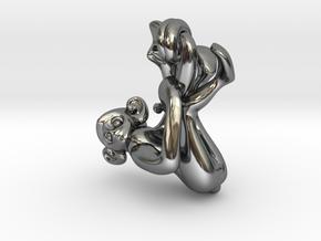 3D-Monkeys 099 in Fine Detail Polished Silver