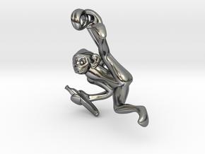 3D-Monkeys 119 in Fine Detail Polished Silver