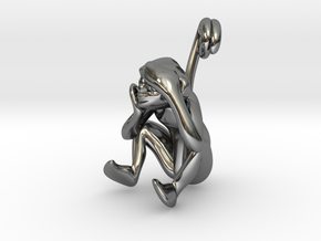3D-Monkeys 177 in Fine Detail Polished Silver