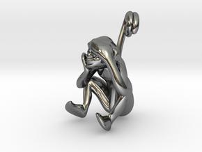3D-Monkeys 177 in Fine Detail Polished Silver