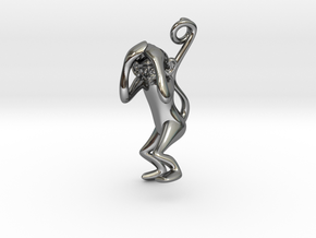 3D-Monkeys 179 in Fine Detail Polished Silver
