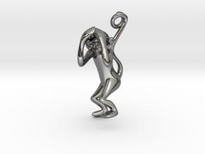 3D-Monkeys 179 in Fine Detail Polished Silver