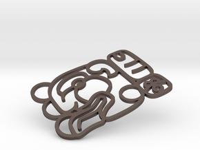 Maya Keychain - Robert (outline) in Polished Bronzed Silver Steel