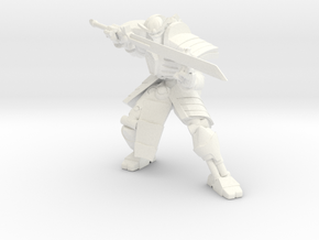 Robot Skeleton Samurai 02 in White Processed Versatile Plastic