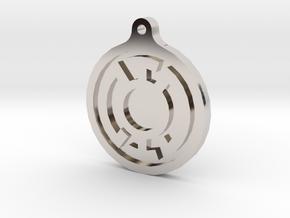 Blue Lantern Key Chain in Rhodium Plated Brass
