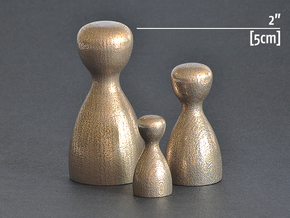 """Game Piece [5cm, 2""""] in Polished Bronzed Silver Steel"""