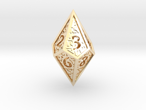 Hedron D10 (v2 closed) Spindown - Hollow in 14k Gold Plated Brass