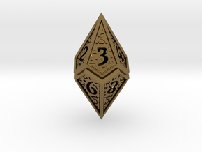 Hedron D10 (v2 open) Spindown - Hollow in Polished Bronze