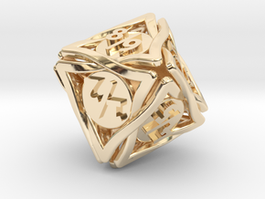 'Twined' Dice D8 Spindown Tarmogoyf P/T Die in 14k Gold Plated Brass
