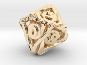'Twined' Dice D10 Gaming Die (18 mm) in 14k Gold Plated Brass
