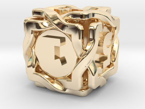 'Twined' Dice D6 Gaming Die in 14k Gold Plated Brass