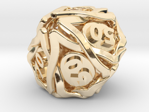 'Twined' Dice 10D10 (Decader) Gaming Die in 14k Gold Plated Brass