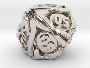 'Twined' Dice 10D10 (Decader) Gaming Die in Rhodium Plated Brass