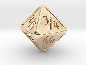 'Simple' D8 Tarmogoyf P/T balanced die in 14k Gold Plated Brass