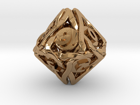 'Twined' Dice D10 Spindown Die (18 mm) in Polished Brass