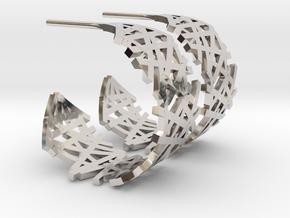 Lines Hoop Earrings in Rhodium Plated Brass