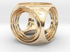 Gyro the cube (small) in 14k Gold Plated Brass