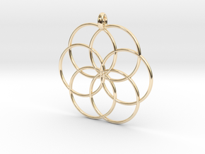 Flower of Life - Hollow Pendant V2 in 14K Yellow Gold