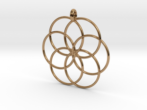 Flower of Life - Hollow Pendant V2 in Polished Brass