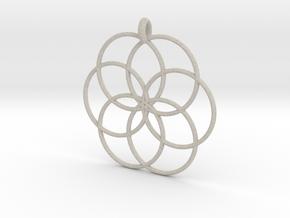 Flower of Life - Hollow Pendant V2 in Natural Sandstone