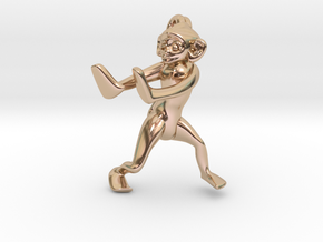 3D-Monkeys 256 in 14k Rose Gold Plated Brass