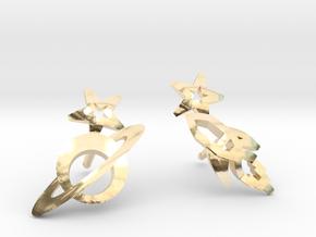 Earrings 'retro-Space' - Rocket/Planet in 14K Yellow Gold