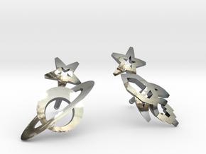 Earrings 'retro-Space' - Rocket/Planet in Fine Detail Polished Silver