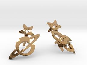 Earrings 'retro-Space' - Rocket/Planet in Polished Brass