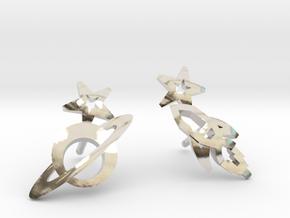Earrings 'retro-Space' - Rocket/Planet in Rhodium Plated Brass