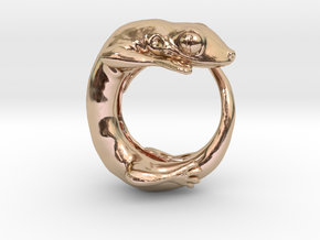 (Size 6) Gecko Ring in 14k Rose Gold Plated Brass