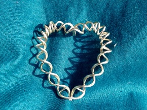 DNA Heart in Polished Silver