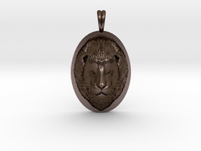 Lion Head Necklace Jewelry - Leo Sign - Symbol in Polished Bronze Steel