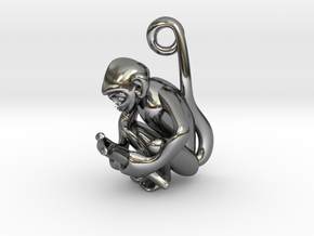 3D-Monkeys 338 in Fine Detail Polished Silver