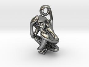 3D-Monkeys 341 in Fine Detail Polished Silver