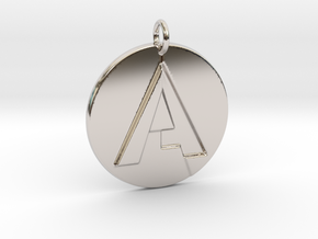 """""""A"""" Letter Initial Pendant in Rhodium Plated Brass"""