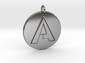 """A"" Letter Initial Pendant in Polished Silver"
