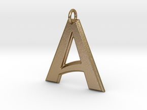 """""""A"""" Letter Initial Pendant in Polished Gold Steel"""